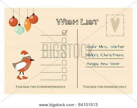 Cute Christmas Card, Wish List With Bird And Baubles, Vector