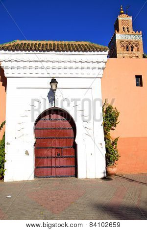 Historical Marble  In  Antique Building Door Morocco    Minaret