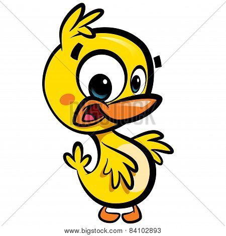 Cartoon Cute Little Smiling Baby Duck Character With Black Outlines