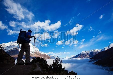 Hiker on the trek in Himalayas Manaslu region Nepal