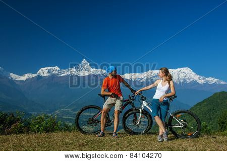 Biker Family In Himalaya Mountains, Anapurna Region