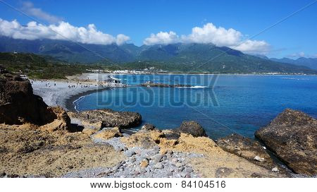 Tourists Visit The Famous Beach At Sanxiantai In Taitung County, Taiwan