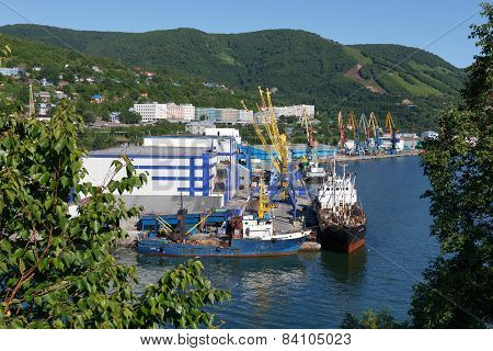 View of Petropavlovsk-Kamchatsky port and ships at the pier