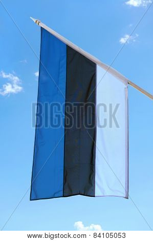 Estonian Flag In Summer.