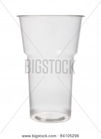 Empty Plastic Cup On A White Background