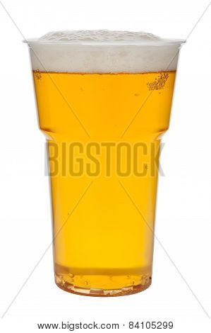 Beer In A Plastic Cup Isolated On A White Background