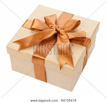Broun Box With Gifts And Bow Isolated On White Background.