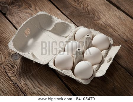 Fresh Eggs On Old Boards