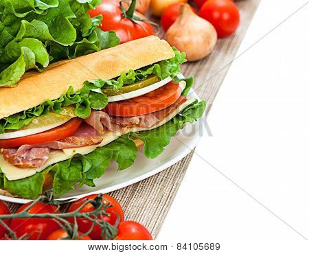 Tasty Sandwich Isolated On White Background