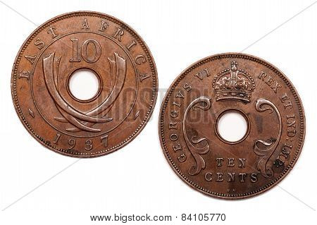 Ten Cents coin from East Africa dated 1937