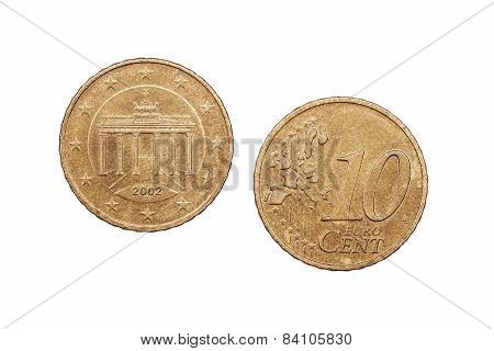 Ten Cents coin from Europe dated 2002