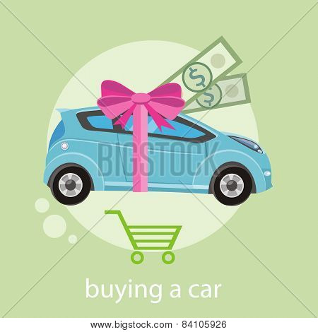 Gift car and red ribbon