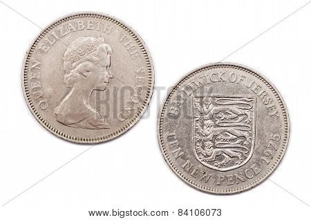 Ten New Pence coin from Jersey dated 1975