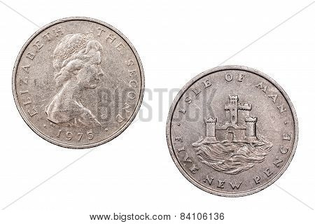 Five  New Pence coin from the Isle of Man 1975