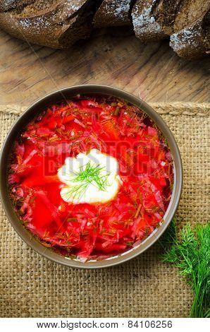 Bowl Of Ukrainian Traditional Beetroot Soup Borscht