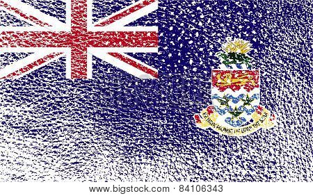 Flag Of Cayman Islands With Old Texture. Vector