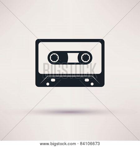 Audio cassette vector icon mono flat style.