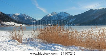 Idyllic Schliersee Lake In Upper Bavaria, Winter Landscape