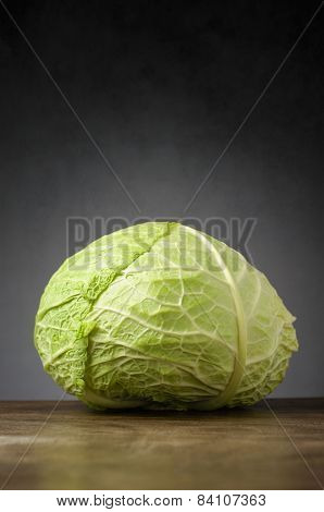 Cabbage On Wooden Table