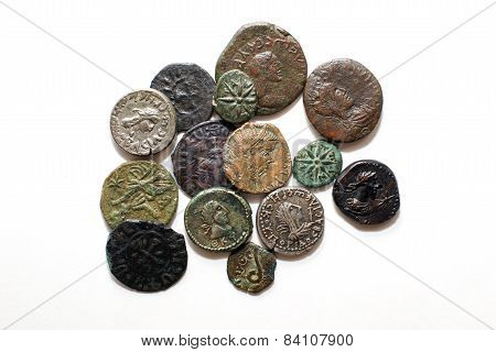 Vintage  Coins With Portraits On A White Background