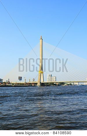 The Rama Viii Bridge Over The Chao Praya River In Bangkok, Thailand.