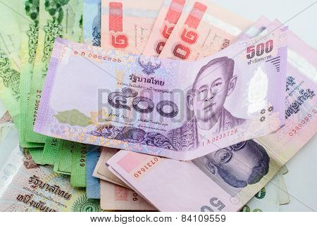 Thailand Currency Of Baht Banknotes Background
