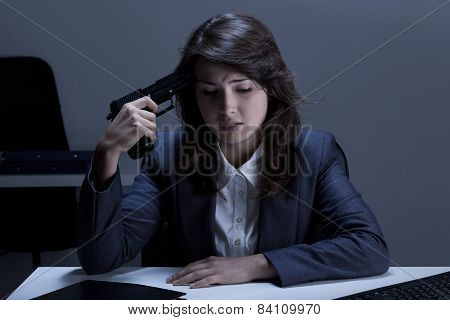 Depressed Businesswoman Going To Commit Suicide