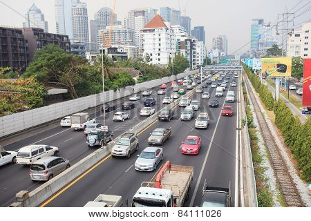 Thailand,bangkok-jan30 :view Of Express Ways In Heart Of Bangkok The City Of Traffic Jam And Transpo