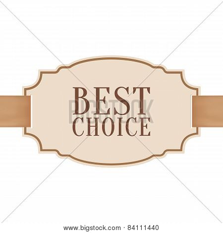 Best choice banner with golden ribbon and a bow