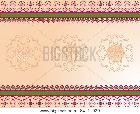 Pink and green henna border design
