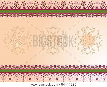 Pink and green henna border design