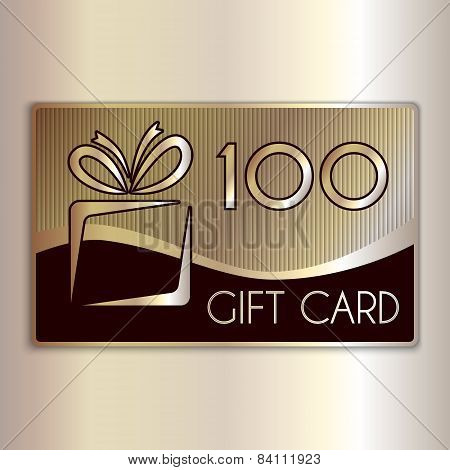 Vector abstract gift card for one hundred in gold and beige colors