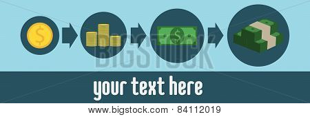 Image sequence income growth, blue background