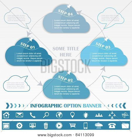 Timeline infographic design template with blue cloud tags