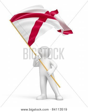 Man and flag of Alabama (clipping path included)