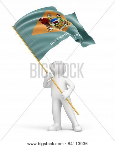 Man and flag of Delaware (clipping path included)