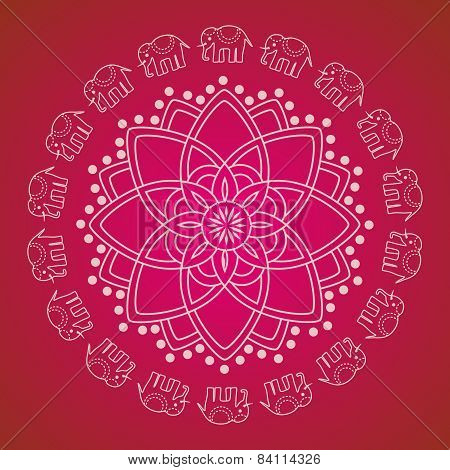 Pink Indian henna elephant mandala