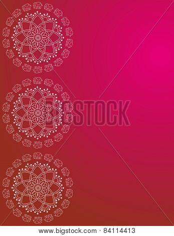 Pink henna elephant mandala border design