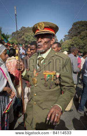 A war veteran with medals celebrates the 119th Anniversary of Adwa Victory.