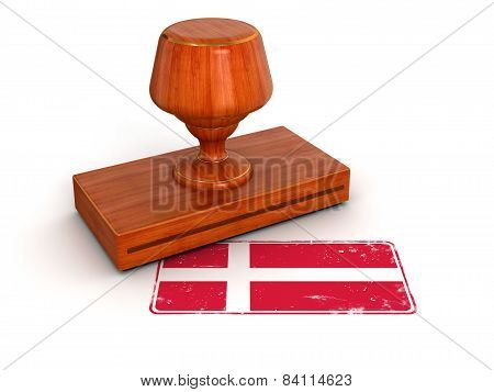 Rubber Stamp Danish flag (clipping path included)