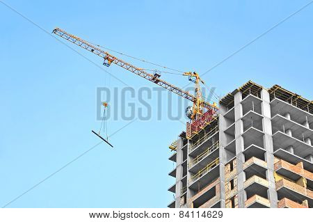 Crane and construction site