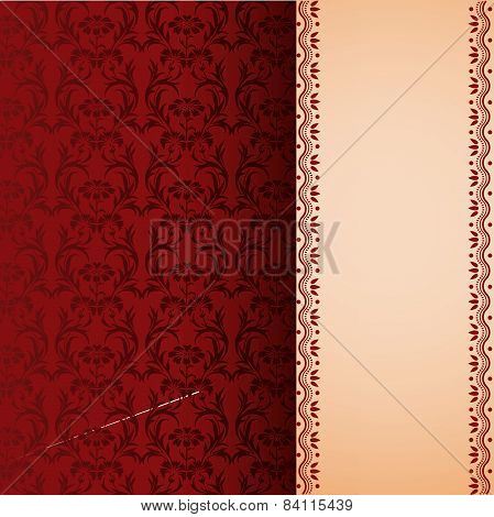 Oriental red floral background and vertical banner