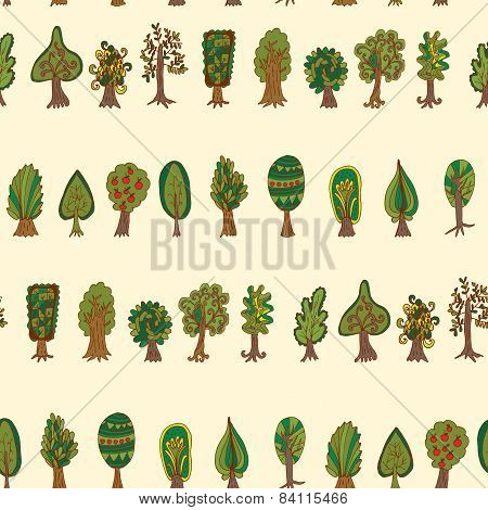 Seamless Hand-drawn Pattern With Doodle Forest Tree