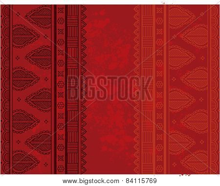Red Indian henna paisley background