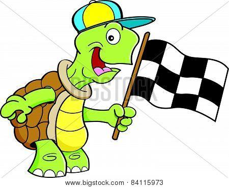 Cartoon turtle waving a flag.