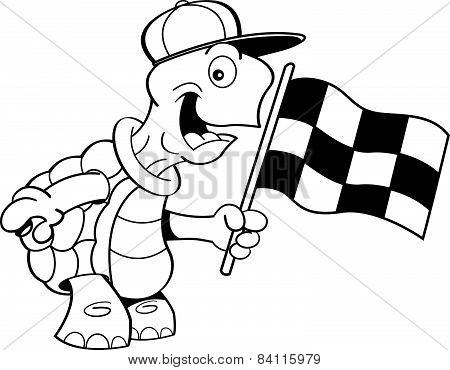 Cartoon turtle waving a flag.