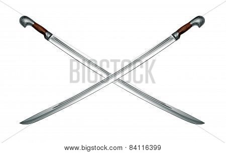 Two Naked Circassian Cavalry Swords Isolated On White