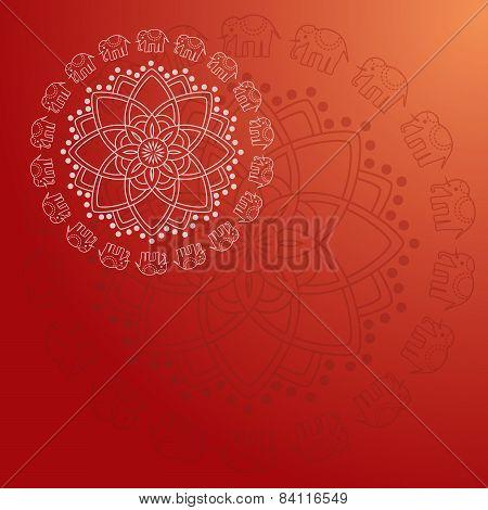 Red henna elephant mandala background