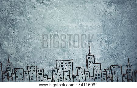 Concrete gray wall with fissure. Sketch of buildings