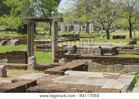 Ruins of the Sacred city in Anuradhapura, Sri Lanka.